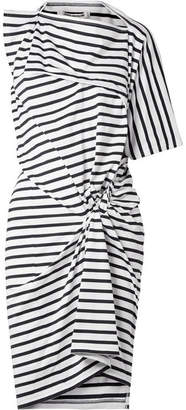 Junya Watanabe Asymmetric Gathered Striped Cotton Dress - Midnight blue