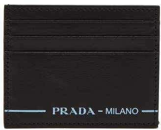 Prada Logo Leather Cardholder - Mens - Black