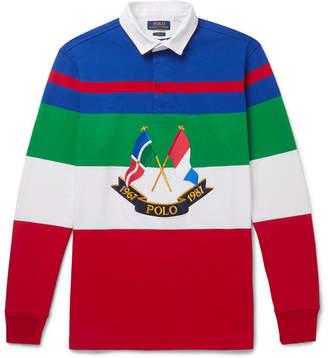 Polo Ralph Lauren Appliquéd Striped Cotton-jersey Polo Shirt