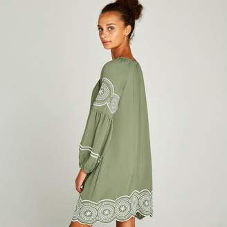 Apricot Green Embroidered Puff Sleeve Dress