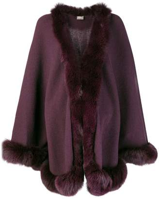 N.Peal fox trim knitted cape