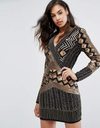 Starlet Wrap Front Embellished Mini Dress with Long Sleeves