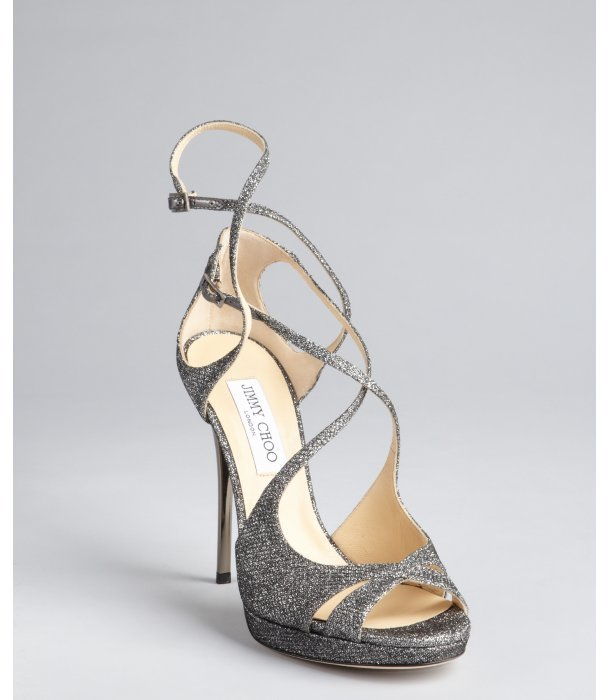 Jimmy Choo anthracite glitter mesh and leather 'Mimic' strappy sandals
