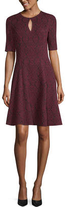 London Times Short Sleeve Pattern Fit & Flare Dress-Petite