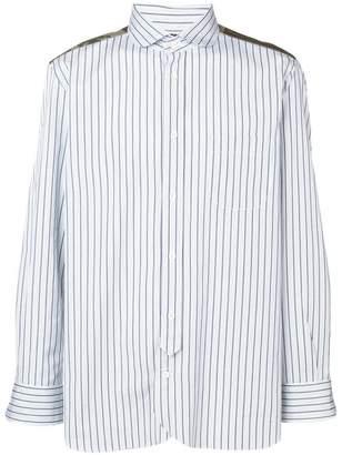 Junya Watanabe camouflage panelled stripe shirt