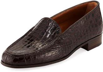Gravati Crocodile Stack-Heel Loafer