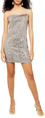 Topshop Sequin Cowl Neck Mini Dress