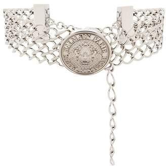 Balmain embossed medallion choker