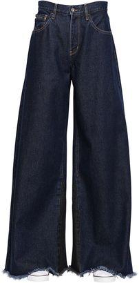Extreme Wide Leg Dark Wash Denim Jeans $186 thestylecure.com