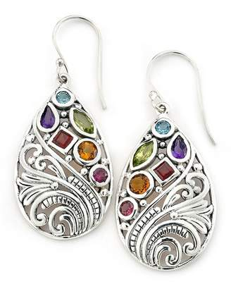 Samuel B Jewelry Sterling Silver Multi-Gemstone Filigree Teardrop Earrings
