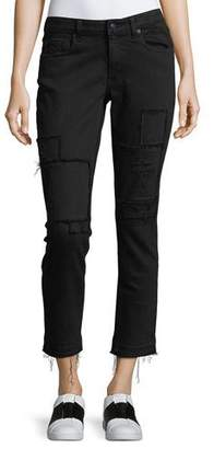 Derek Lam 10 Crosby Mila Mid-Rise Slim Girlfriend Jeans w/ Patchwork