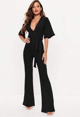 e0a02dd2b6 ... Missguided Black Plunge Kimono Sleeve Romper