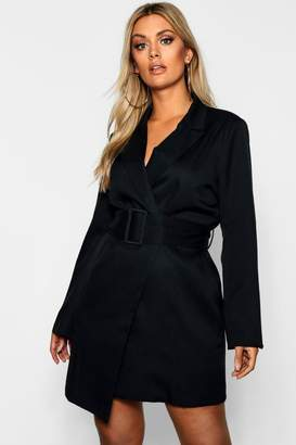 boohoo Plus Belted Asymmetric Blazer Dress