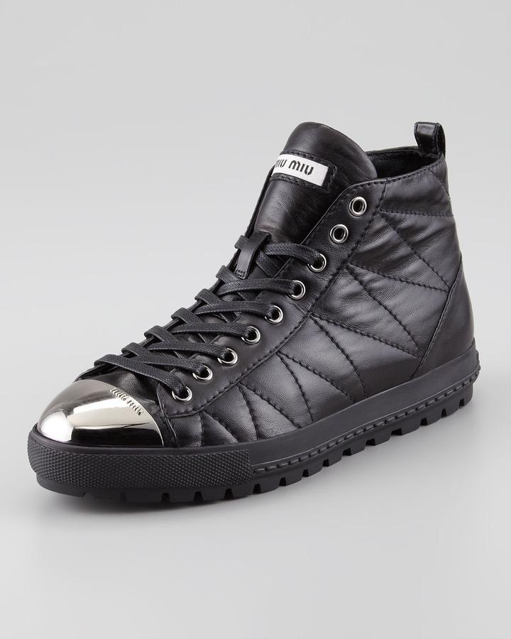 Miu Miu Quilted Cap-Toe High-Top Sneaker