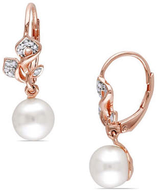 HBC CONCERTO 7.5-8mm Pearl and 0.10TCW Diamond Floral Drop Earrings