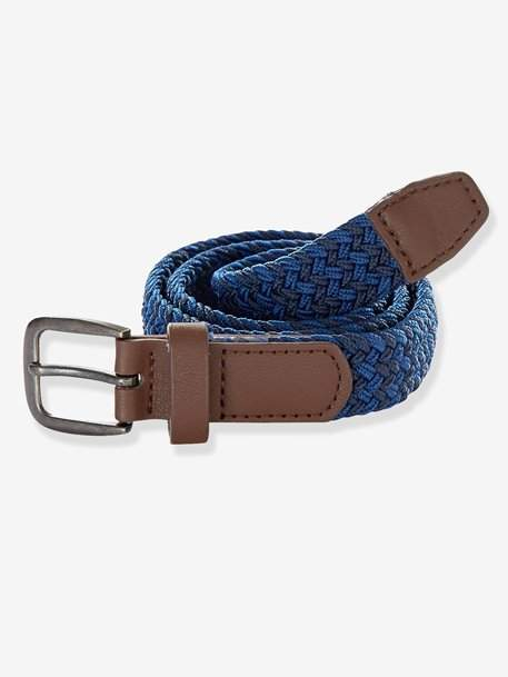 Braided Belt - grey-blue stripe