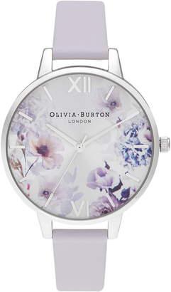 Olivia Burton Sunlight Florals Leather Strap Watch, 34mm