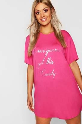 boohoo Gemma Collins Foil Slogan T Shirt Night Dress