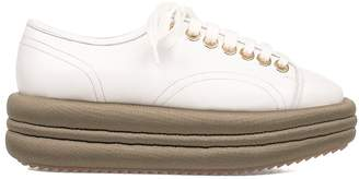 White/army Green Leather Wedge Sneakers