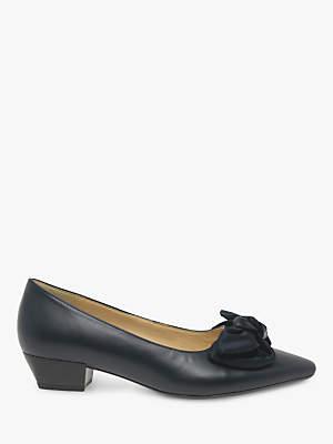 Gabor Comfort Oceana Block Heel Bow Leather Court Shoes, Blue Ocean