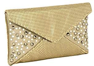 Whiting & Davis Metal Mesh Sparkling Envelope with Crystals Top Handle Bag