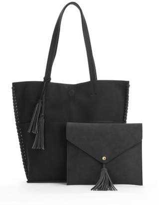 Metallic Sky Abigail Faux Leather Tassel Tote With Faux Suede Pouch