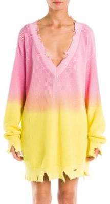 MSGM Oversized Ombre V-Neck Sweater
