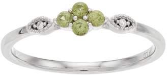 Lauren Conrad 10k White Gold Green Sapphire & Diamond Accent Flower Ring