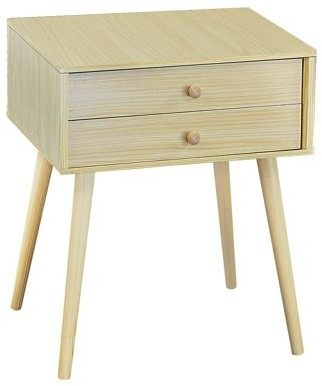 DL furniture - Nightstand Modern Fashion 4 Thin Long Legs Space Station - 2 Tier Cubic Night Stand Storage Bedside Table with 2 Drawers | Real Natural Paulownia Wood | Finish: Natural Wood Tone