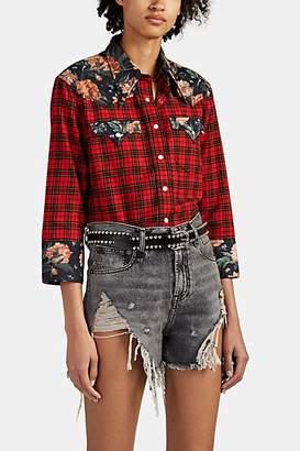 R 13 Women's Floral-Trimmed Plaid Cotton Cowboy Blouse - Red