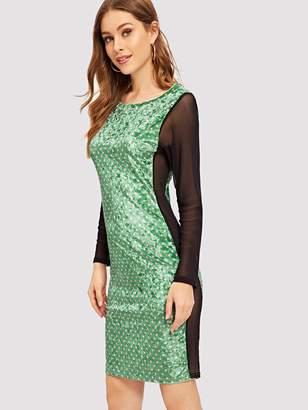 Shein Sheer Mesh Insert Polka Dot Velvet Dress