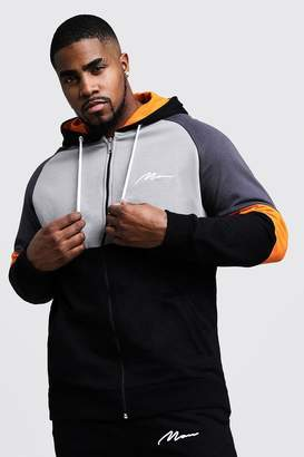 Big & Tall Colour Block MAN Branded Hoodie
