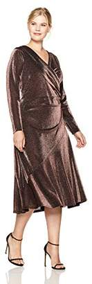 London Times Women's Plus Size Long Sleeve V Neck Midi Sheath Dress