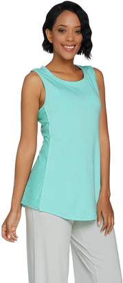 Halston H By H by Sleeveless Knit Tank w/ Lace Inset Details