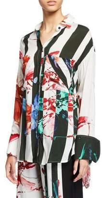 Palmer Harding palmer//harding Boyfriend Striped Floral Viscose Button-Up Shirt