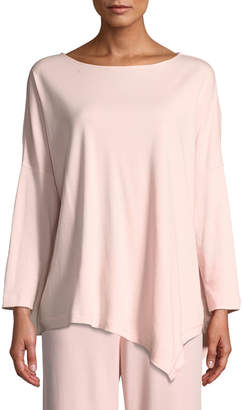 Joan Vass Petite Oversized Long-Sleeve Pullover w/ Asymmetric Hem