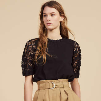 Sandro T-Shirt With Lace Sleeves