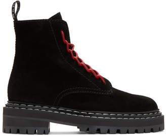 Proenza Schouler Black Suede Lace-Up Boots
