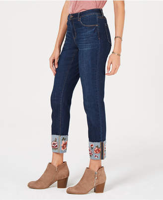Style&Co. Style & Co Flower-Embroidered Cuff Slim Ankle Jeans