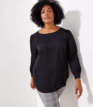 LOFT Plus Pleat Yoke Blouse