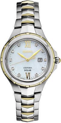 Seiko Women's Solar Coutura Diamond Accent Two-Tone Stainless Steel Bracelet Watch 29mm SUT308 $425 thestylecure.com