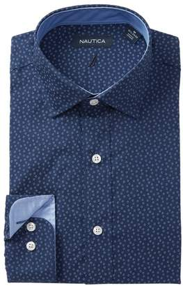 Nautica Navy Flower Print Traditional Fit Dress Shirt