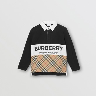 Burberry Long-sleeve Logo Print Check Panel Polo Shirt