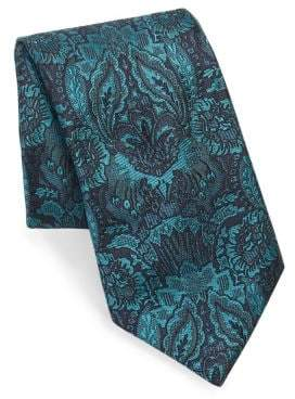 Brioni Embroidered Floral Print Silk Tie