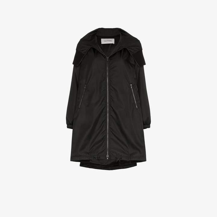 VLTN logo hooded coat