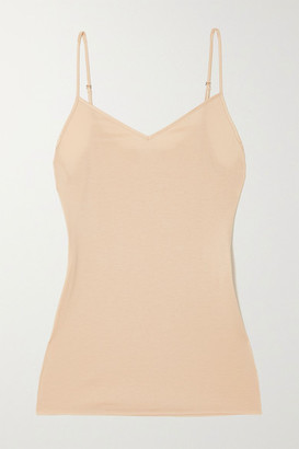Hanro Satin-trimmed Mercerized Cotton Camisole - Sand