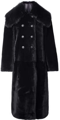 Giorgio Armani Reversible Double-breasted Shearling Coat - Midnight blue