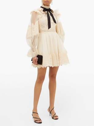 Zimmermann Espionage Pussy Bow Guipure Lace Mini Dress - Womens - Beige