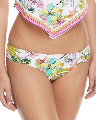 Trina Turk Key West Botanical-Print Shirred-Side Hipster Swim Bikini Bottoms