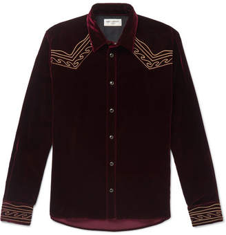 Saint Laurent Slim-Fit Embroidered Velvet Western Shirt - Burgundy